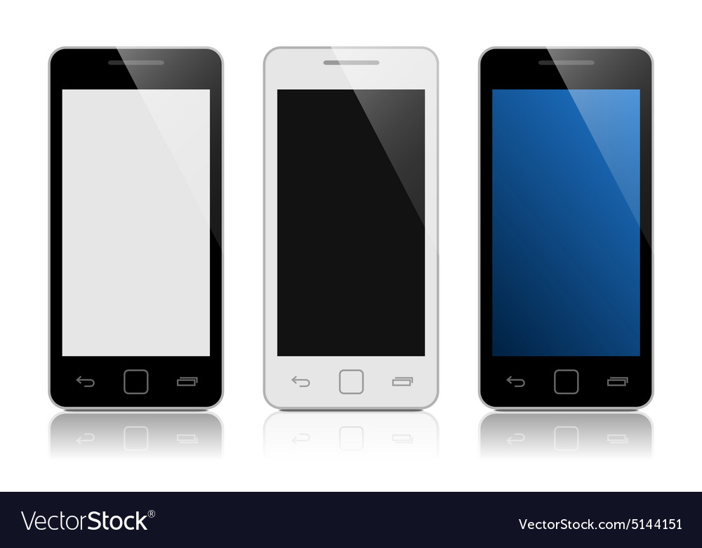 Set of mobile phones isolated on white