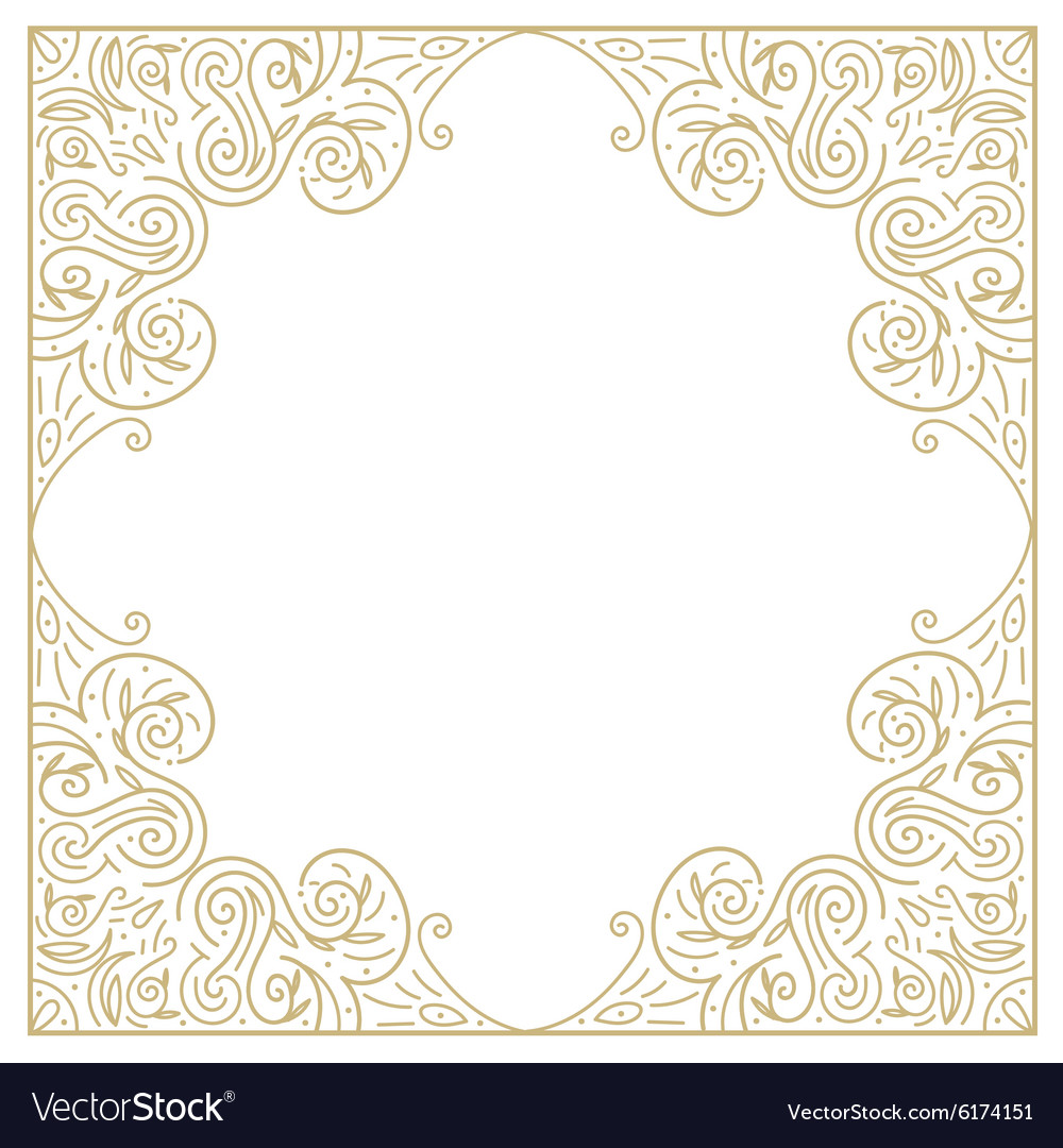 Vintage gold background ornamental hand draw vector image