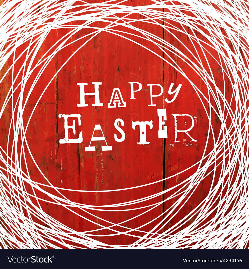 Easter card on red wooden board