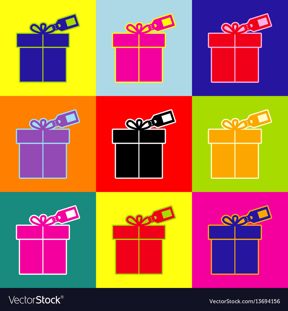 Gift sign with tag pop-art style colorful