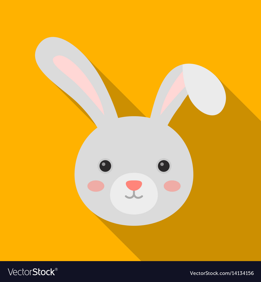 Grey rabbit with long ears easter single icon in