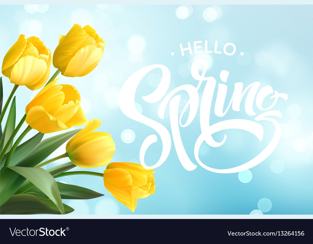 Hello spring hand lettering with tulip flower