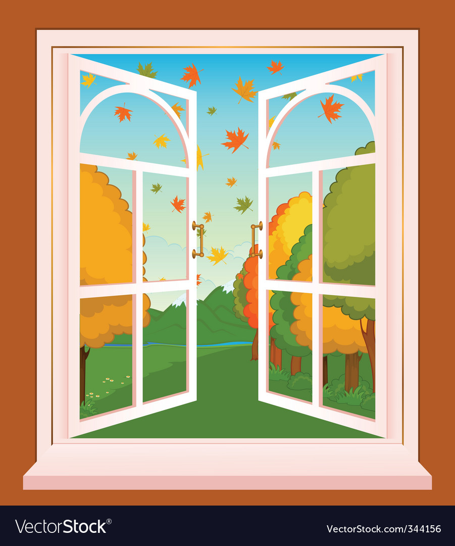Landscape through window vector image
