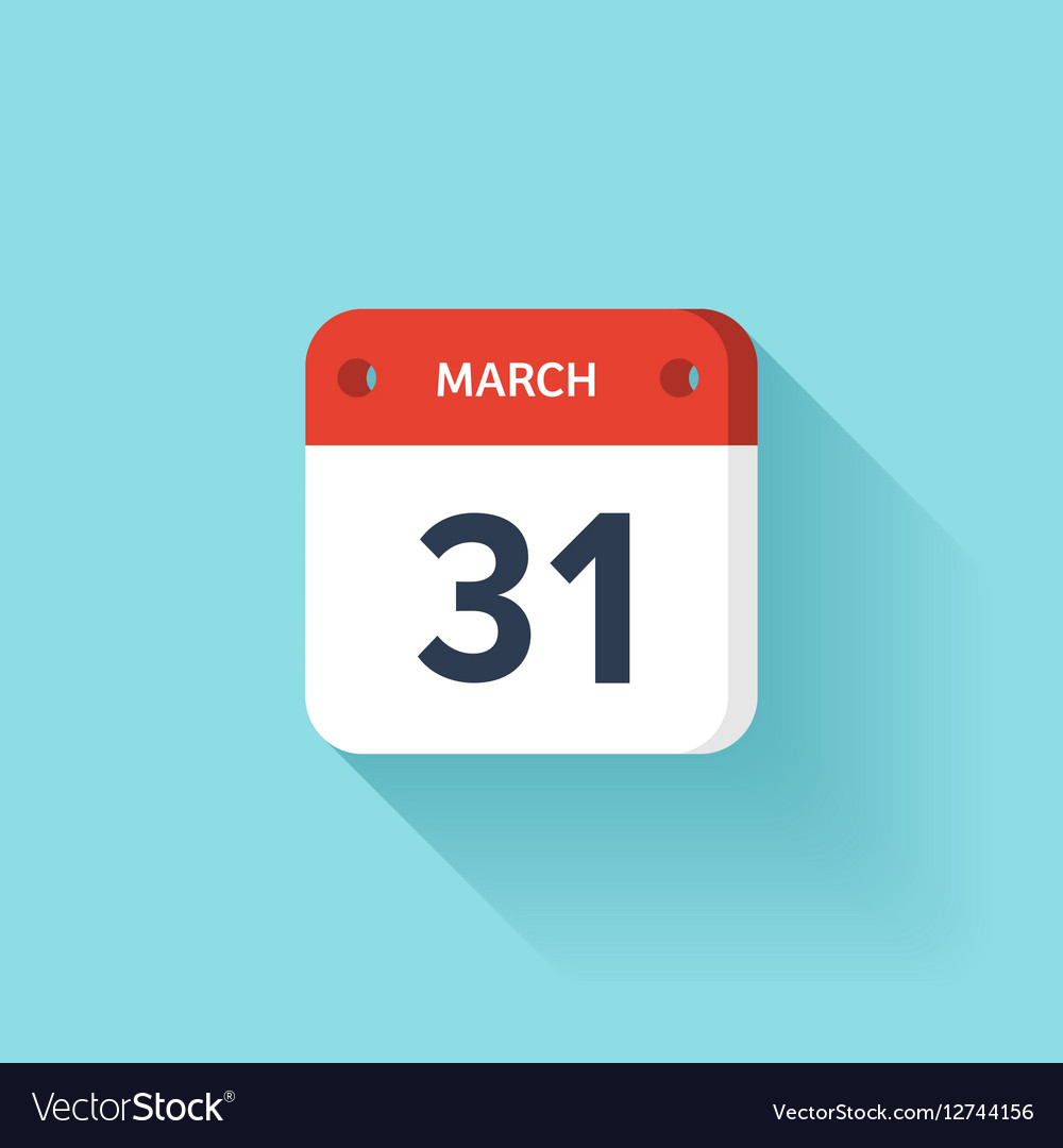 March 31 Isometric Calendar Icon With Shadow