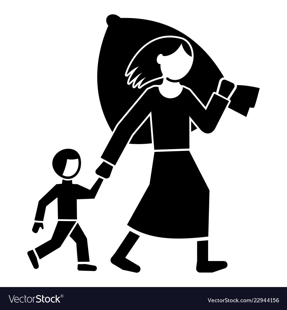 Migrant Mother Kid Icon Simple Style Royalty Free Vector