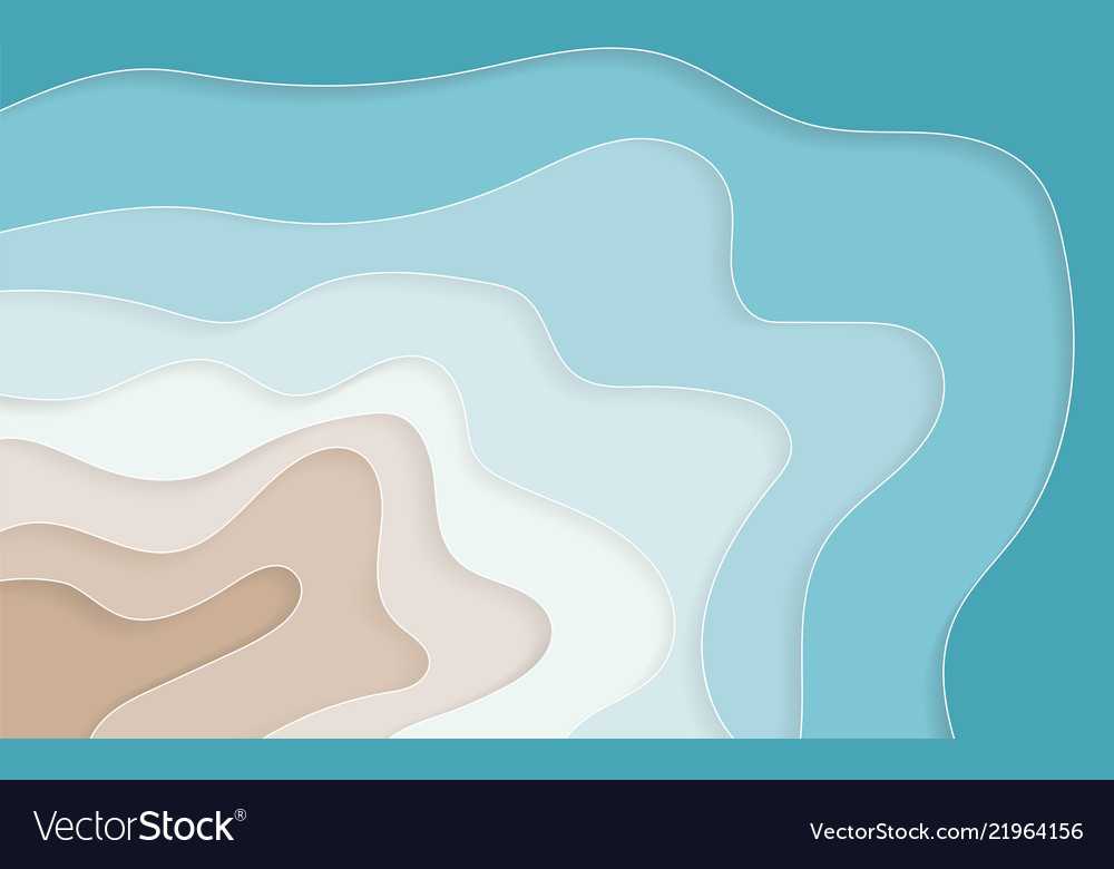 Paper art cartoon abstract waves holes blue sea