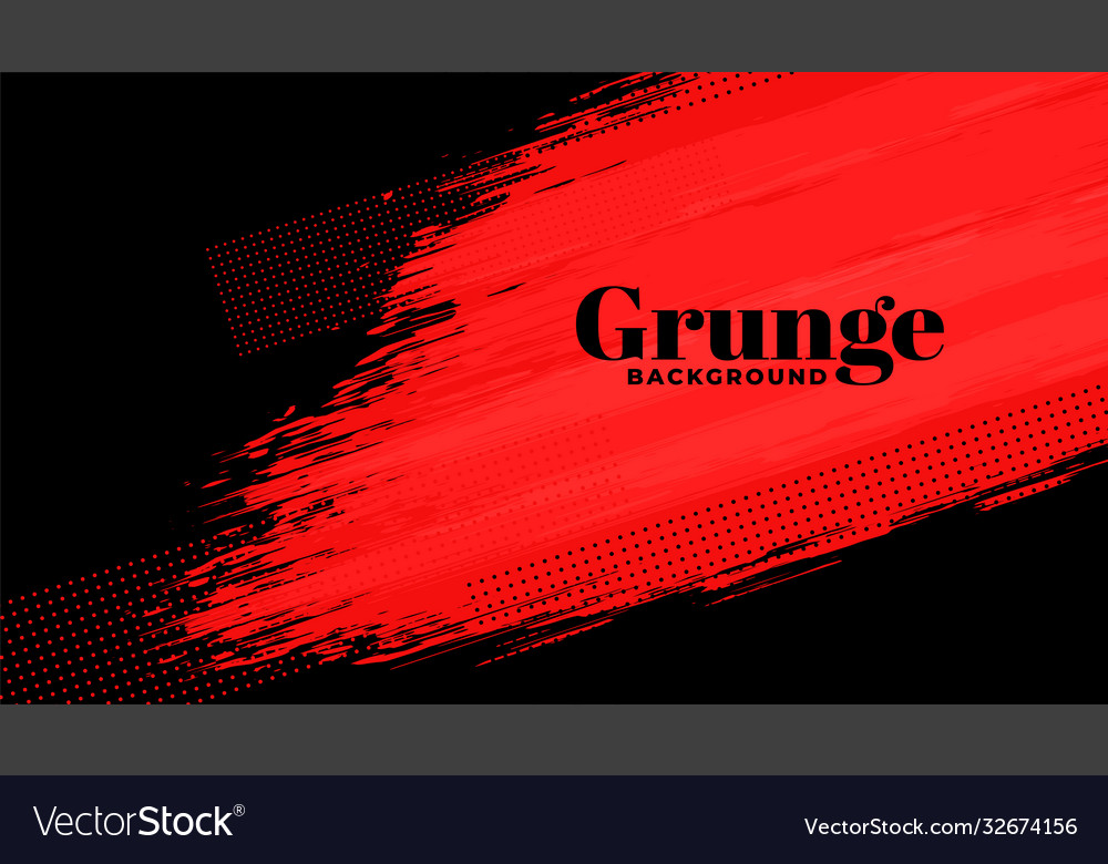 Red and black grunge abstract brush stroke