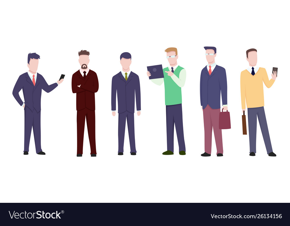 Set businessman or manager in different poses