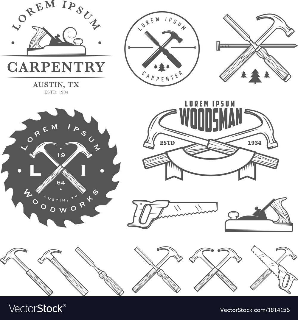 Set of vintage carpentry design elements vector image