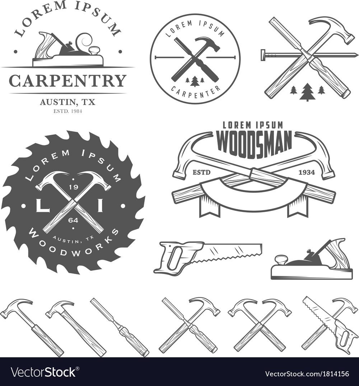 Set of vintage carpentry design elements