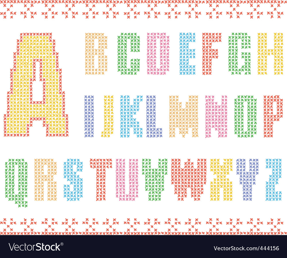Sewing alphabet vector image