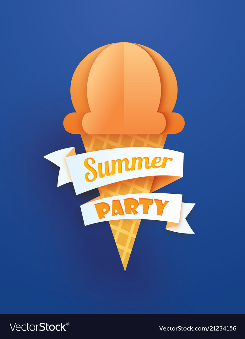 Summer party poster with ice cream cone on blue
