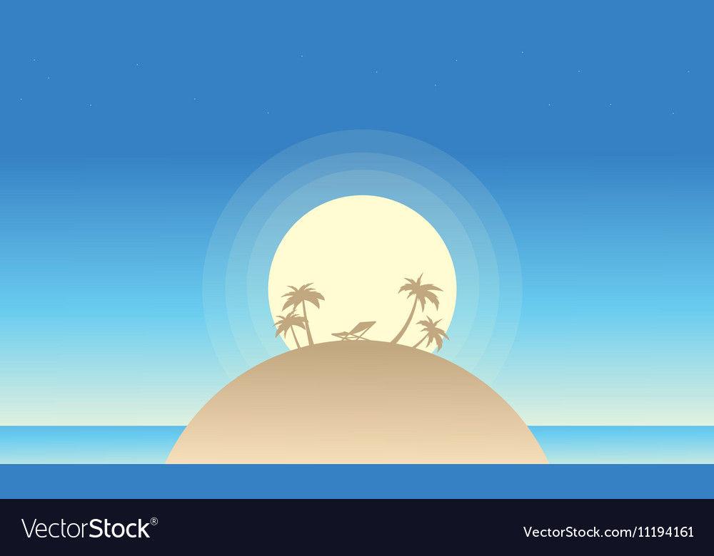 Beautiful island landscape of silhouette