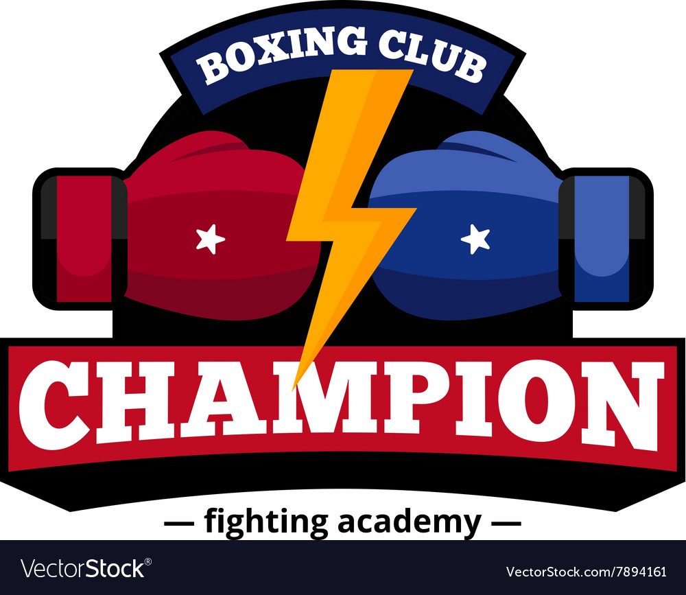 Boxing Club Logo Design Flat Icon vector image