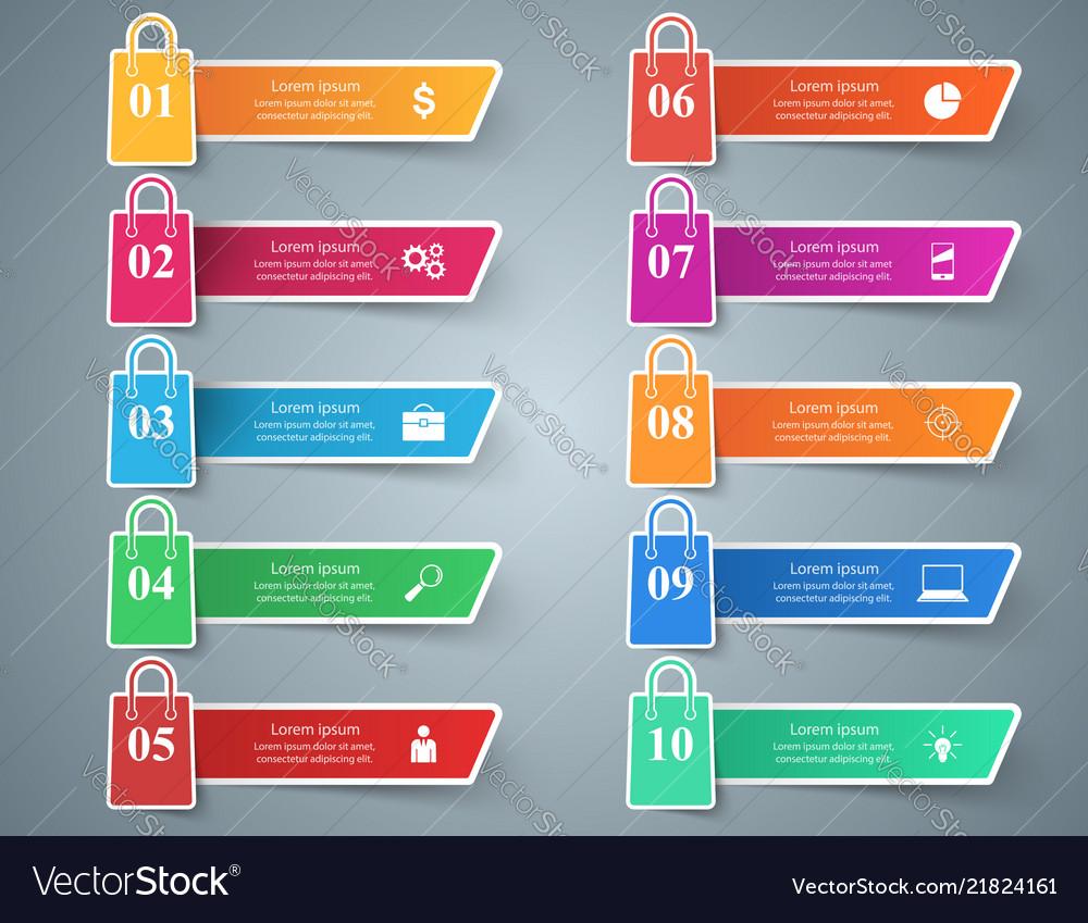 Business shop cart - ten paper infographic