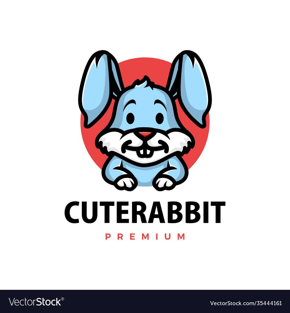 Cute rabbit cartoon logo icon