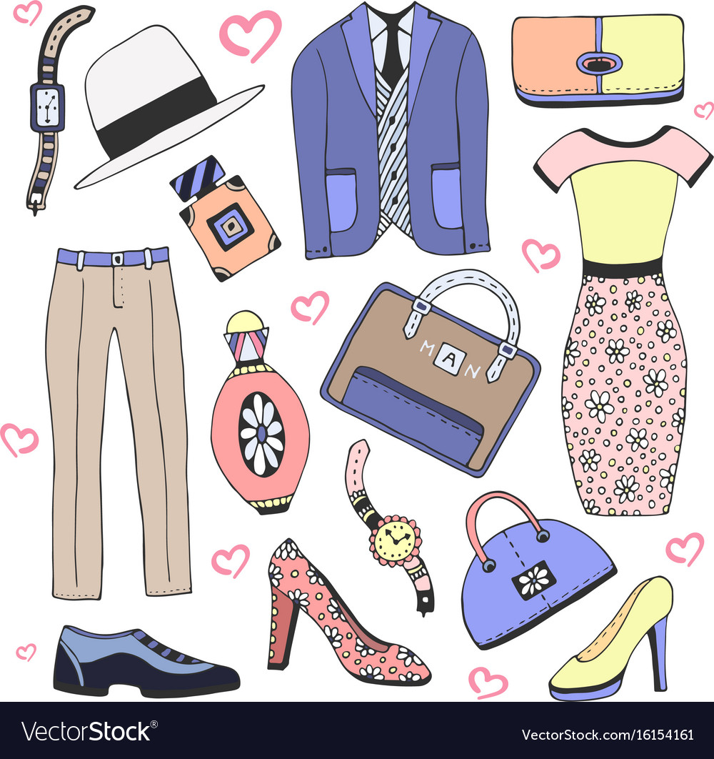 Fashion clothes and accessories set doodles