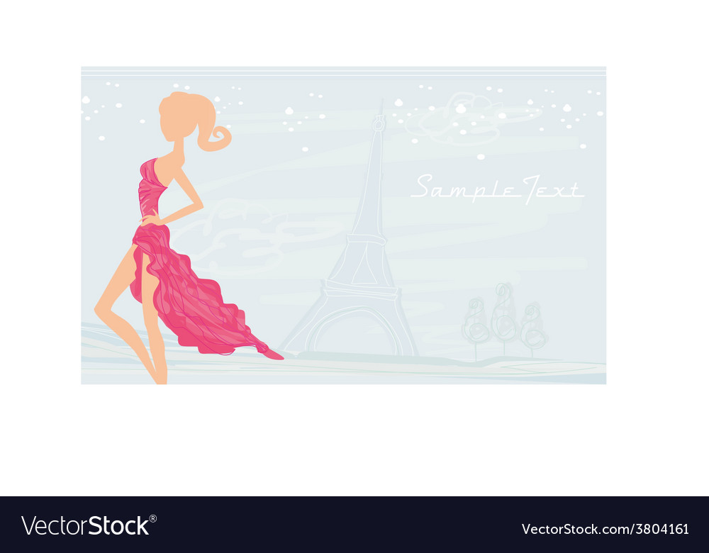 Fashion Girl Silhouette In Paris Background Vector Image