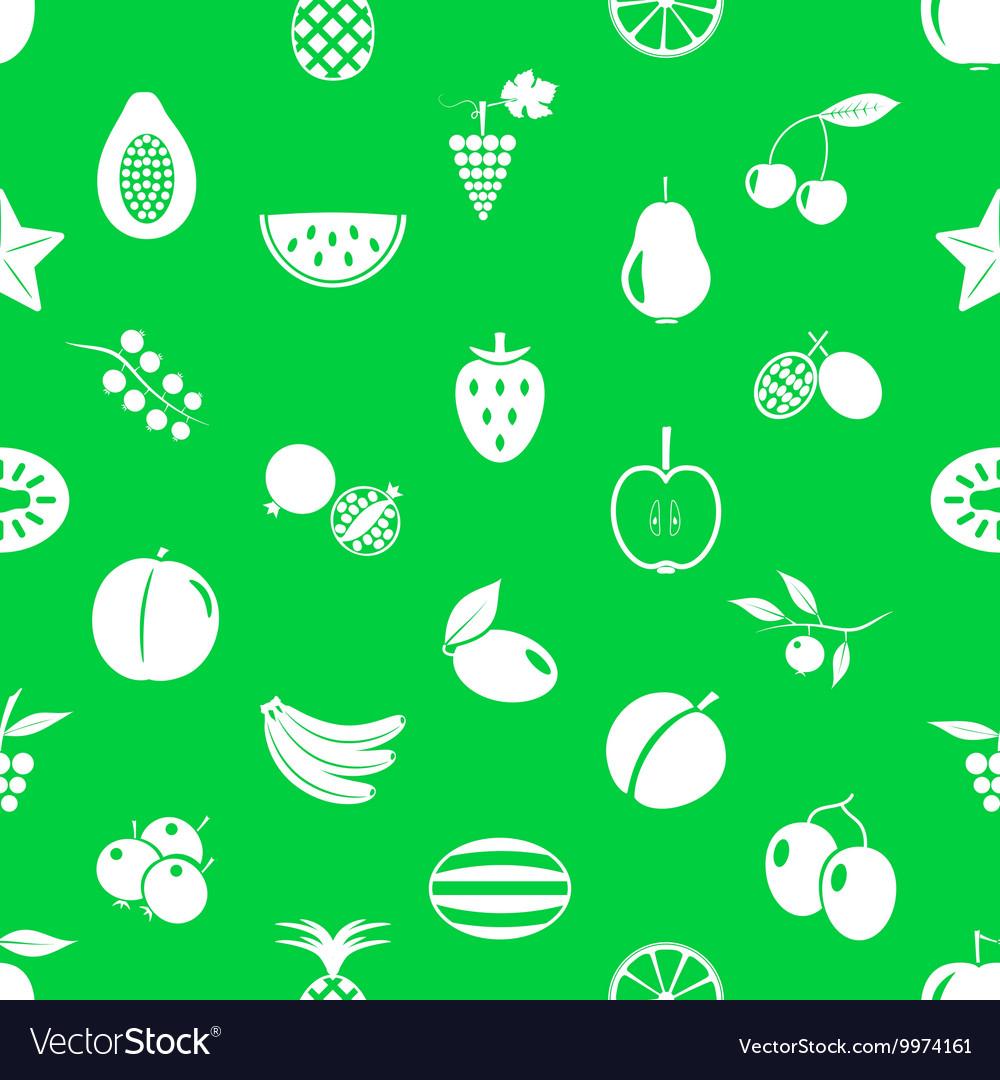 Fruit theme icons set green and white seamless