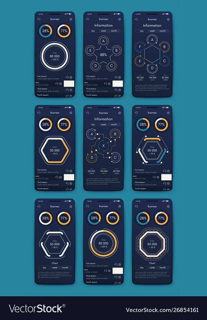 Graphics set mobile infographics stock
