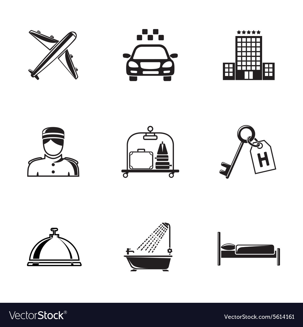 Hotel and service monochrome black icons set with