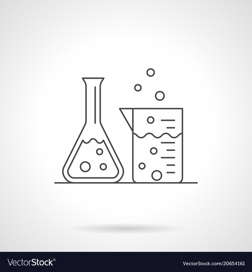 Laboratory glassware flat line icon vector image