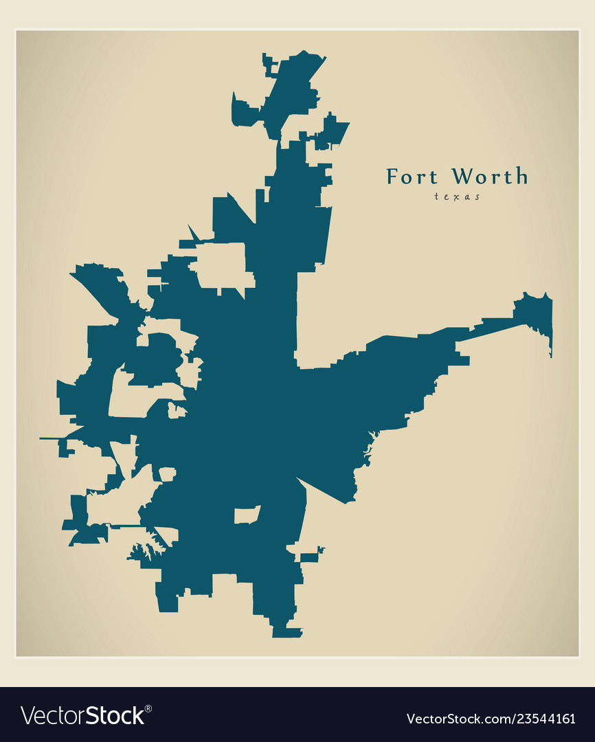 Map Of Texas Fort Worth.Modern Map Fort Worth Texas City Of The Usa