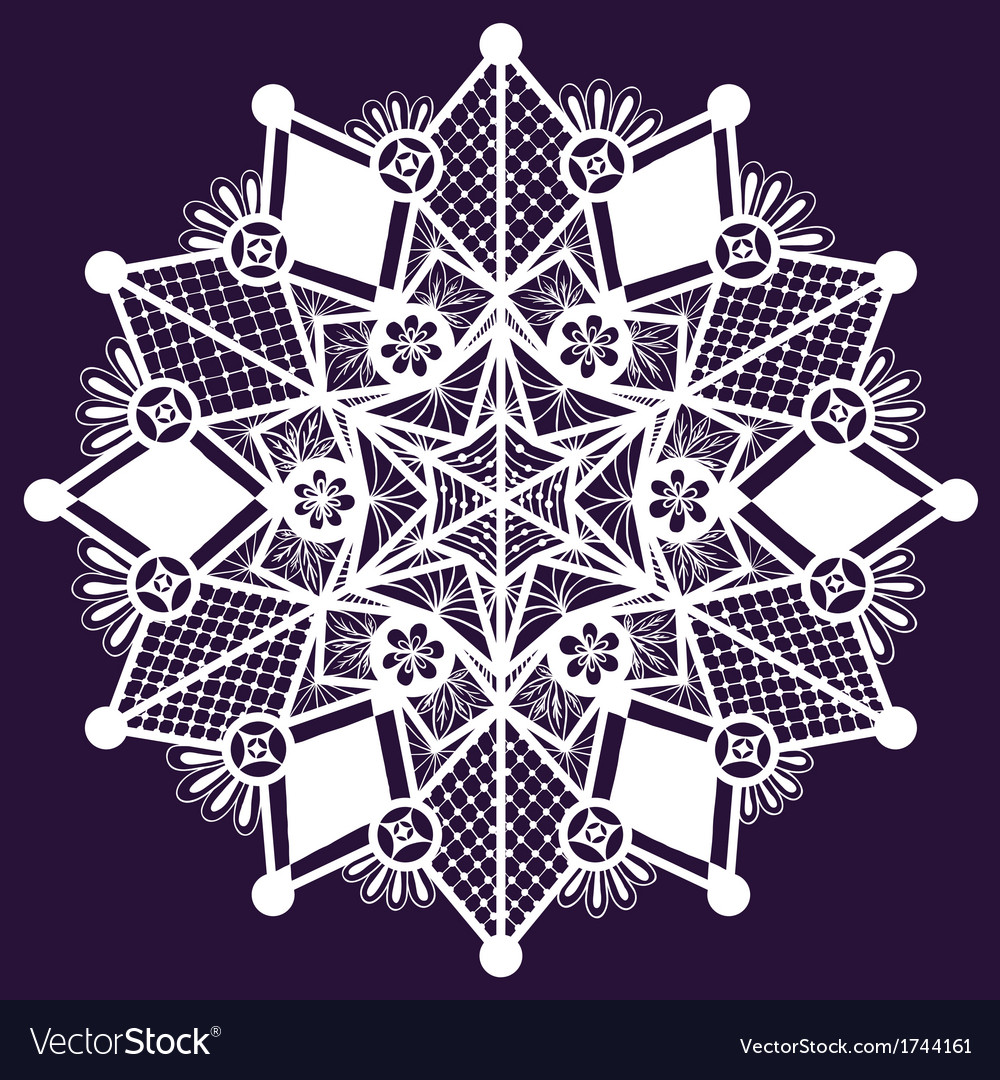 Ornamental winter hand-drawn lace snowflake Doodle