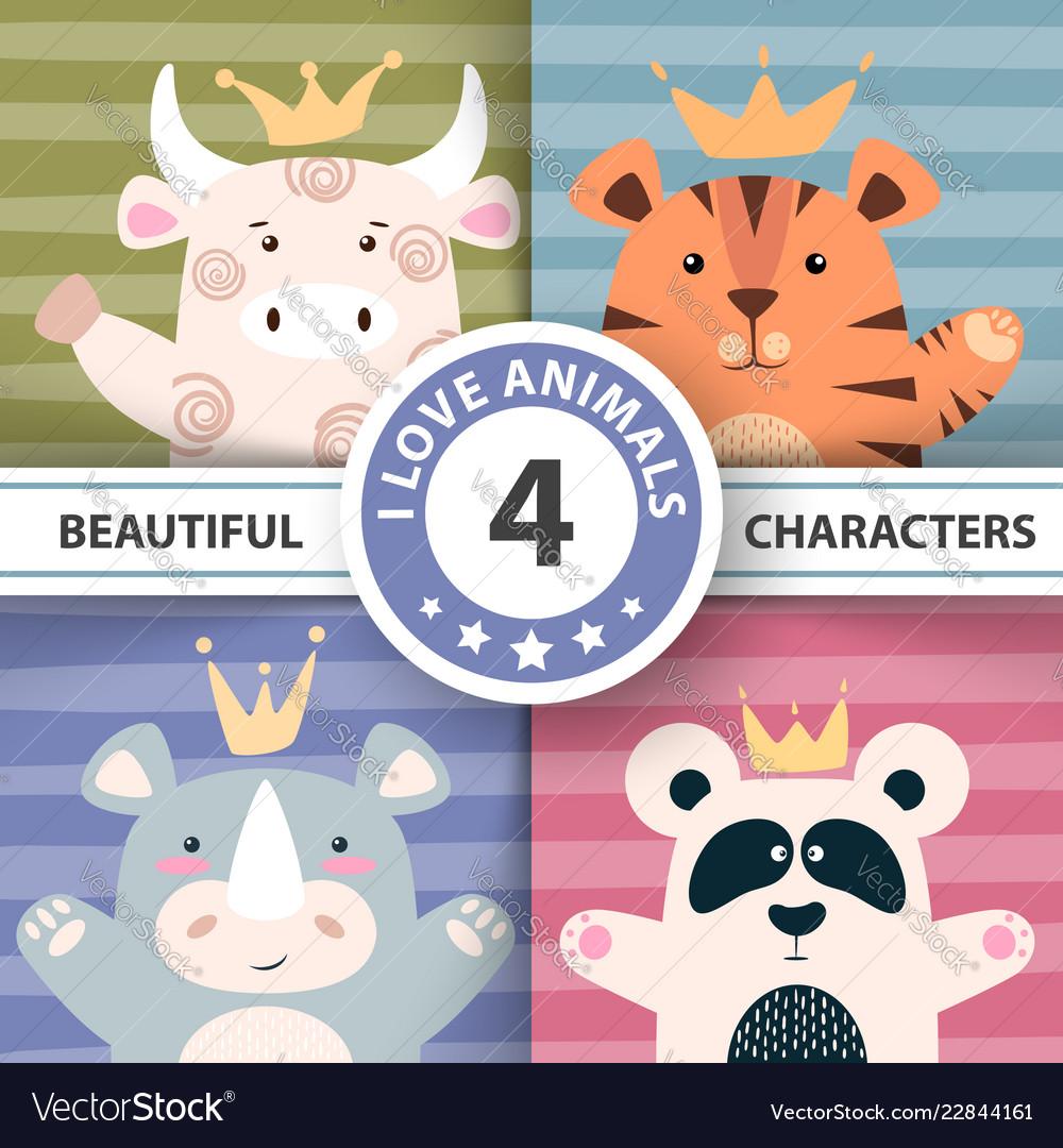 Set cartoon characters - bull panda tiger rhino