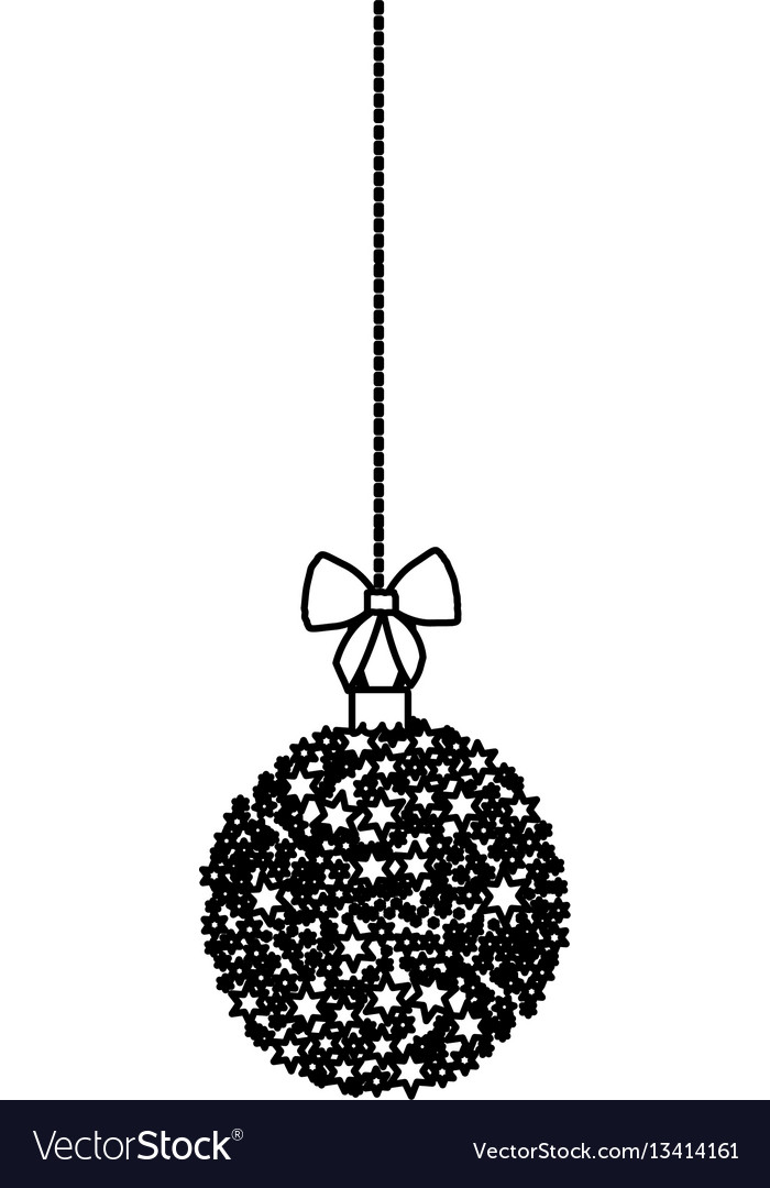 Christmas Wreath Silhouette Vector.Silhouette Hanging Christmas Wreath Of Glass With