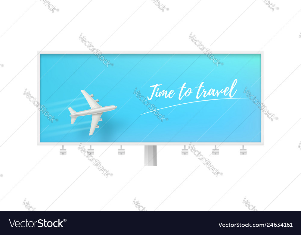 Silver airplane in blue sky on billboard time to