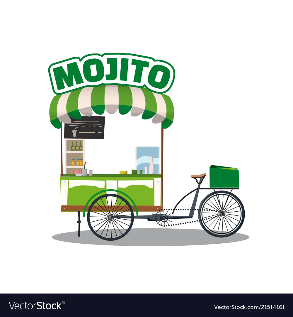 Street food cocktails mojito drink cart fast food