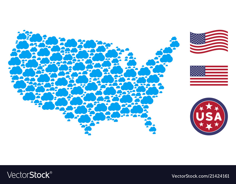united states map collage of cloud vector image