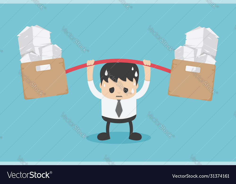 Young businessman lot work worry