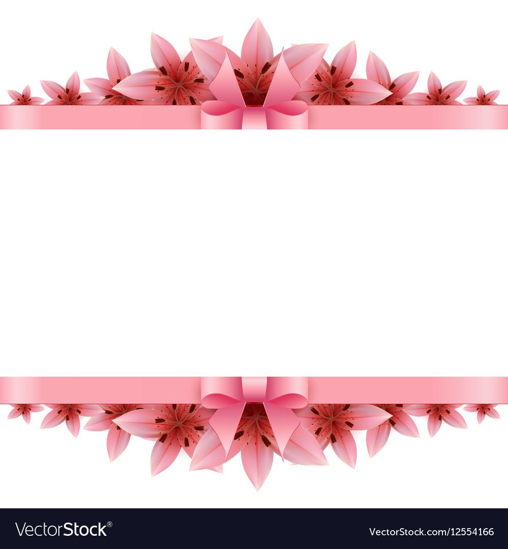 Border Of Rose Petals With Pink Bow Royalty Free Vector