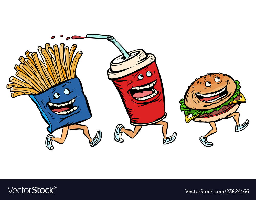 Characters set fast food french fries cola burger