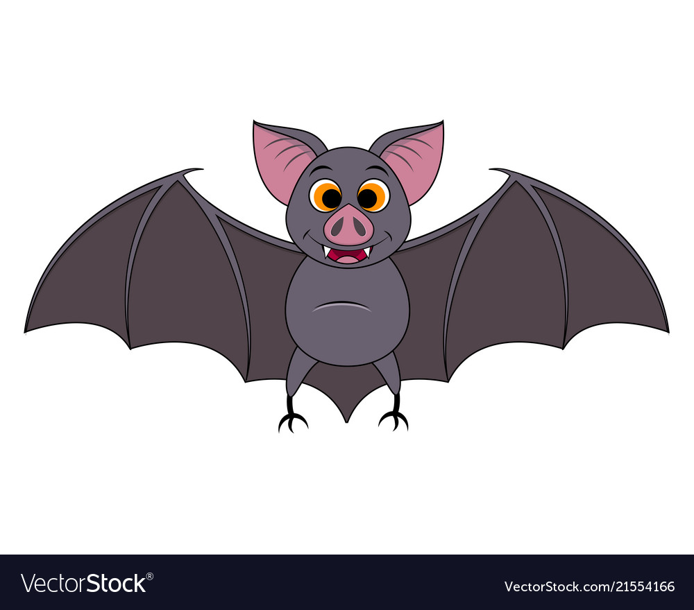 Cartoon Bats: Cute Cartoon Halloween Bat Flying Royalty Free Vector Image