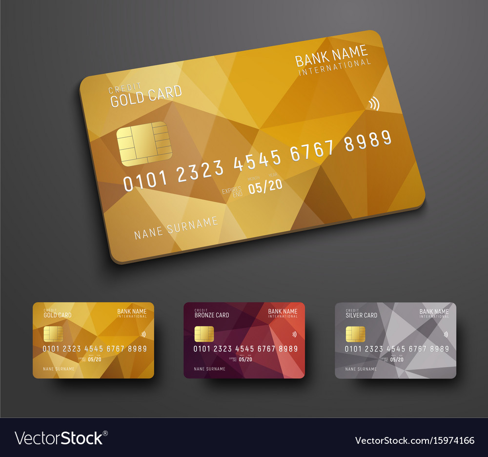 Design Bank Wit.Design Of A Credit Debit Bank Card With A Gold Vector Image