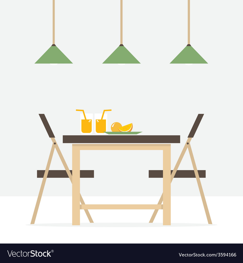 Charming Flat Design Interior Dining Room Vector Image