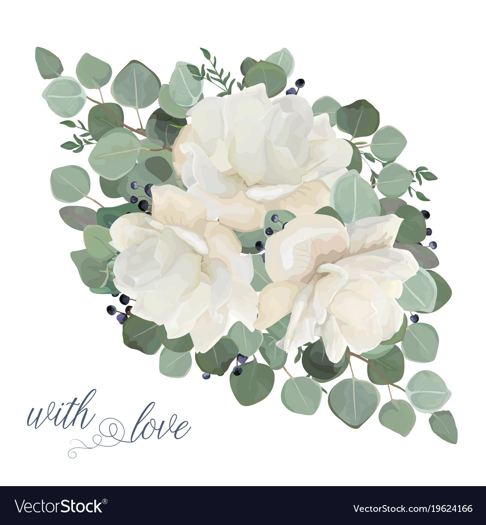 Floral Card Design With Garden White Peony Flowers Vector Image On Vectorstock