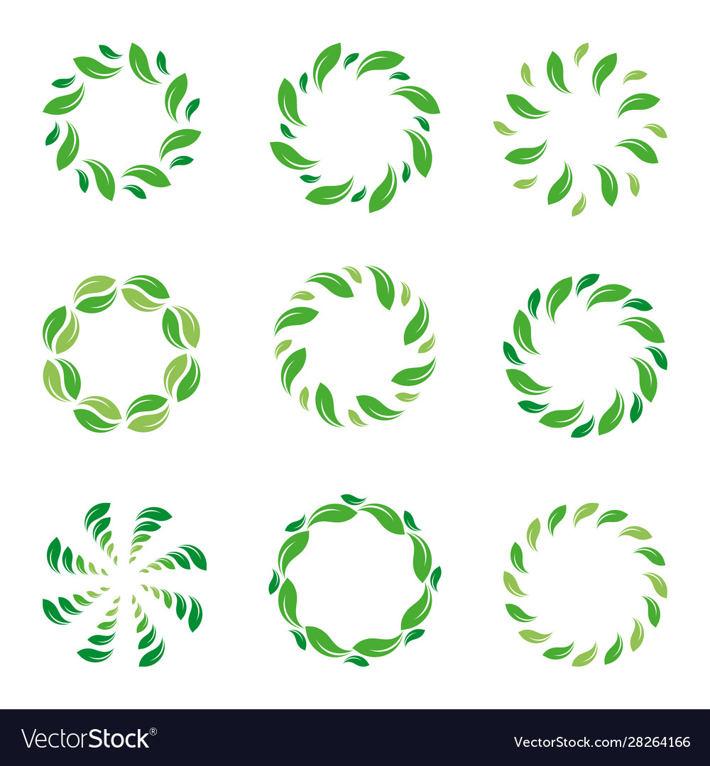 Frame leaf circle leaves organic green