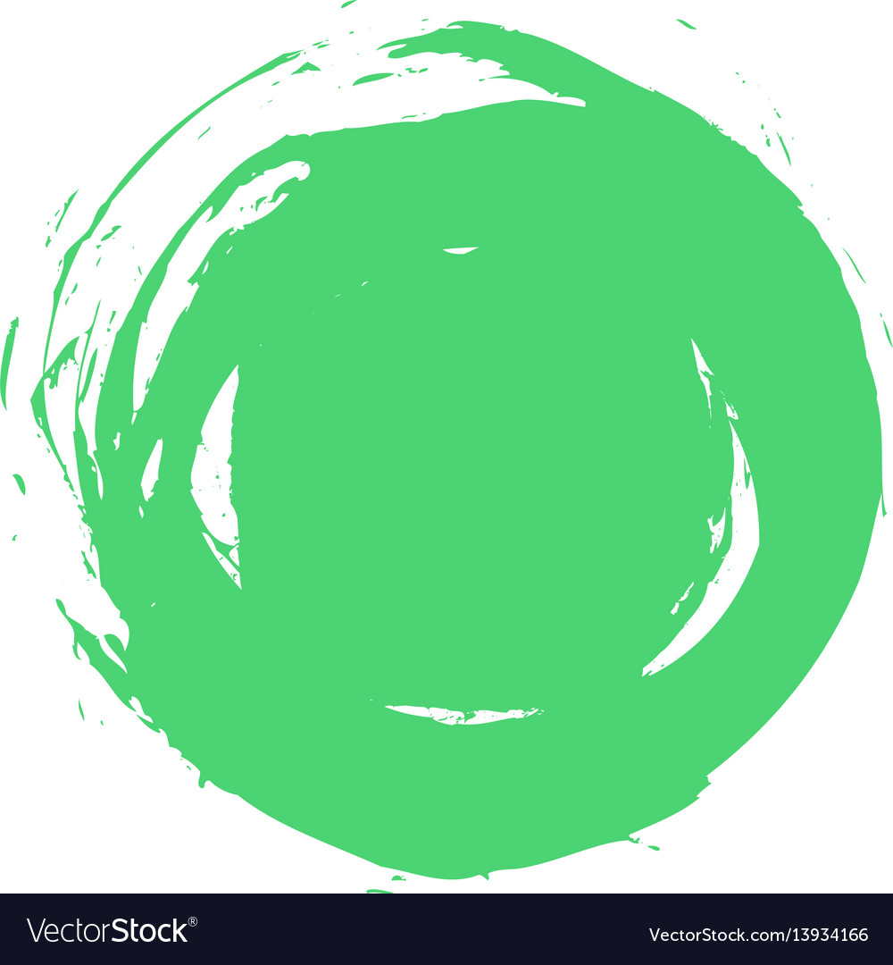Green brush stroke circle shape