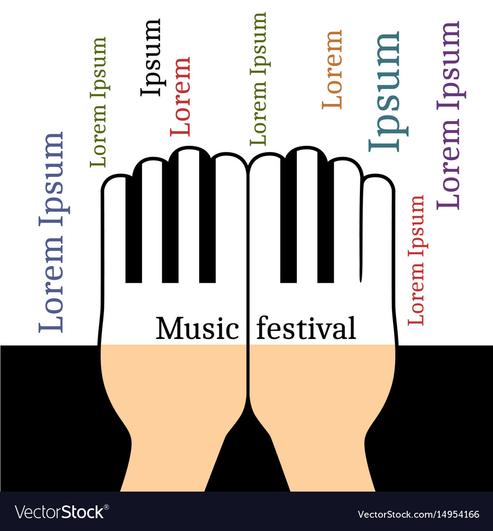 Hands in the form piano keys vector image