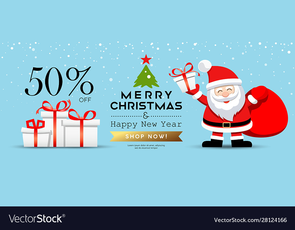 Merry christmas santa claus with gift box sale
