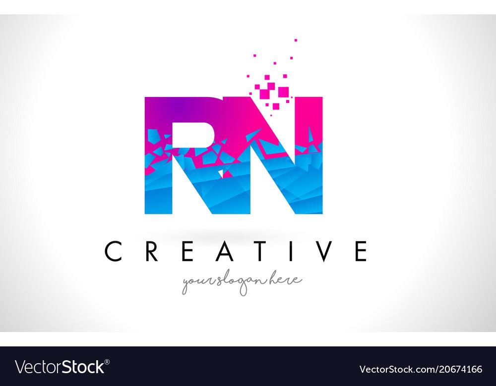 Rn r n letter logo with shattered broken blue vector image altavistaventures Images