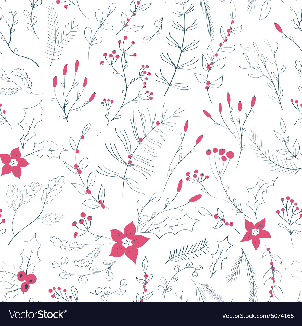 Seamless floral pattern with winter plants vector image
