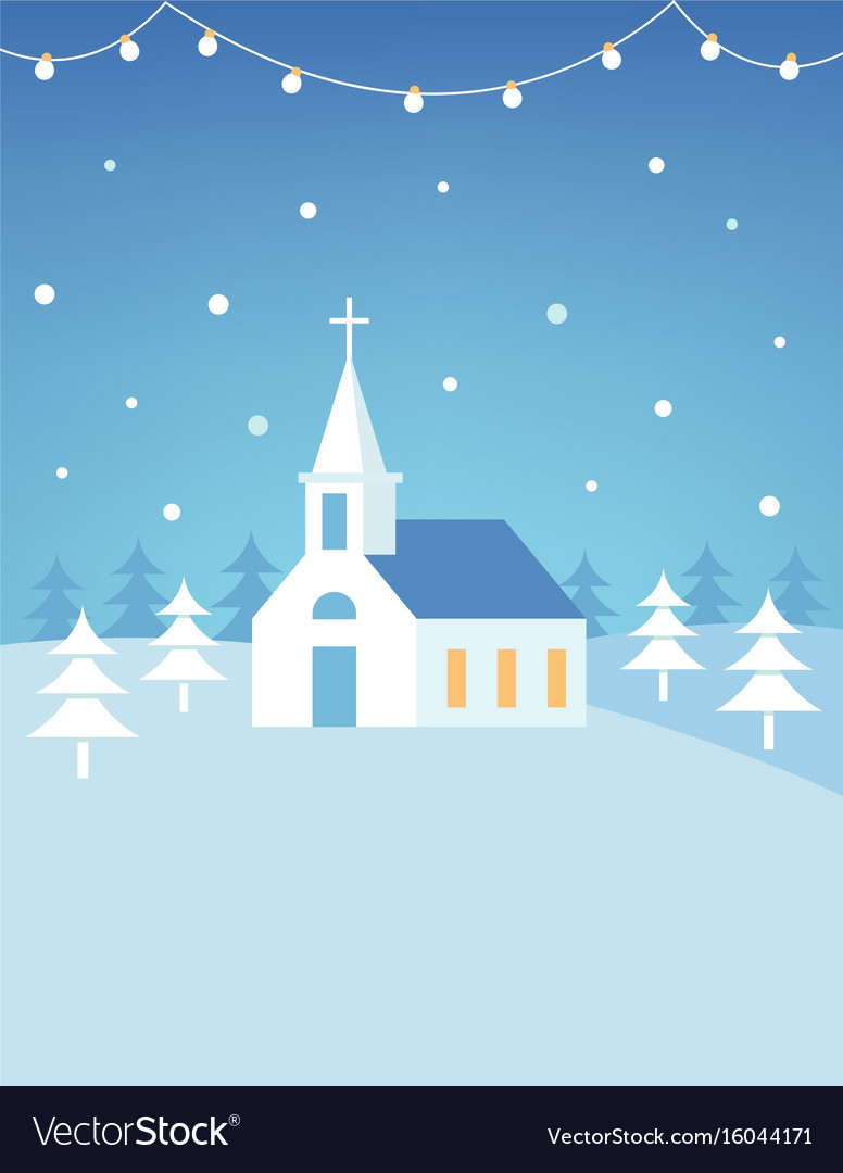 Christian church building and snowy hills