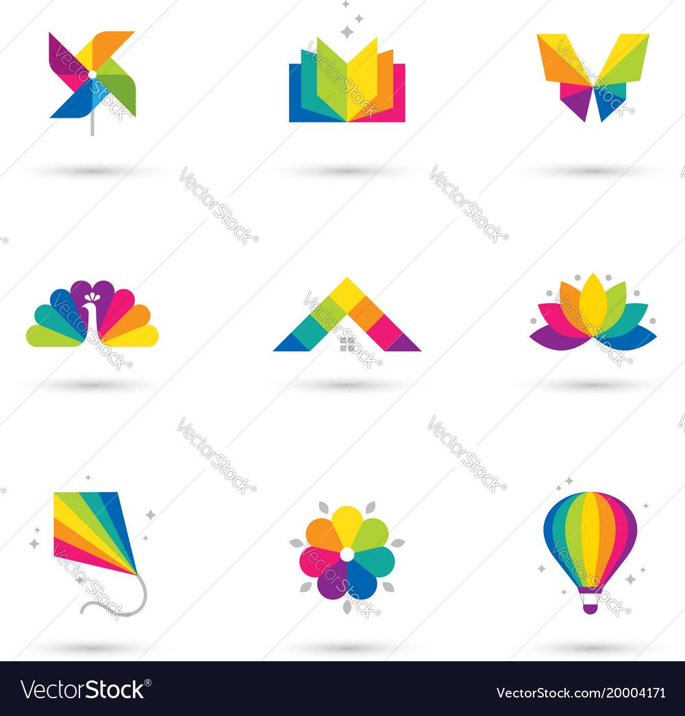 Colorful icons set on white background