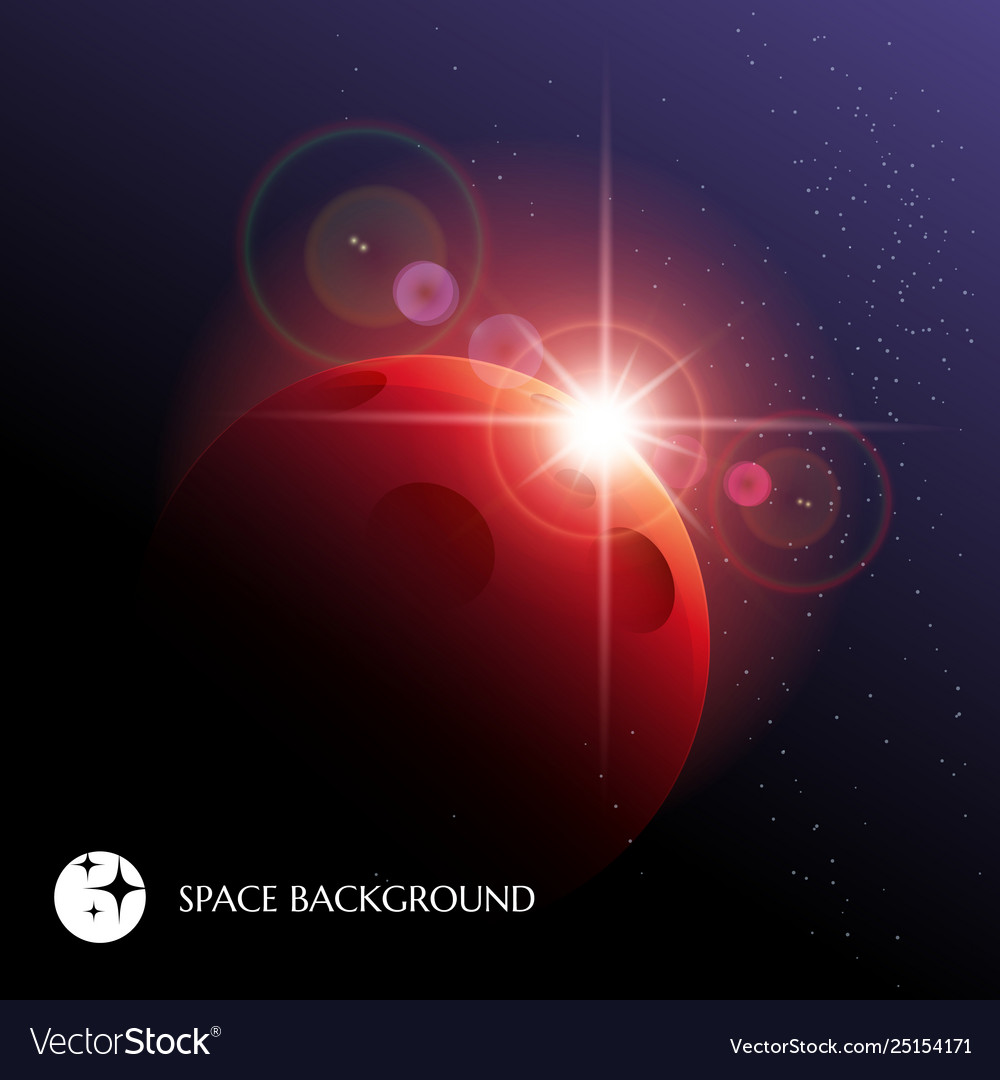 Cosmic background with planet and star rising