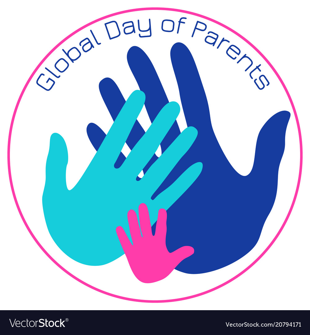 Global day of parents palms of the father mother